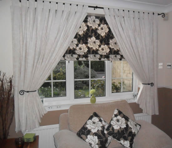 White Curtains with Tabs and Blinds in lounge window, by window dressing (Oxford, England).