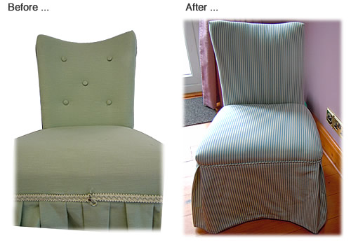 Re-upholstered chair - Green button-backed chair