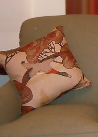 Cushion cover made by WindowDressing to match custom made curtains