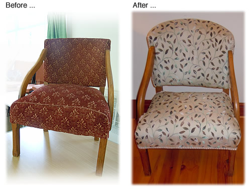 Wood frame chair renovated by replacing old fabric covering, springs and filling with new cover in chosen design