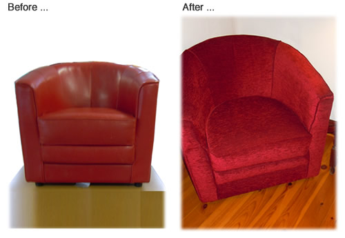 Fully covered chair transformed from a red leather chair to a cosy red velvet chair by Aileen Waller, Oxford.